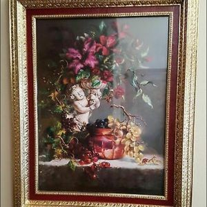 RETIRED VINTAGE HOME INTERIOR FLORAL CUPID PICTURE
